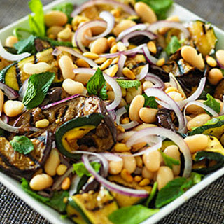 Minted Aubergine With Spinach And Pine Nuts.