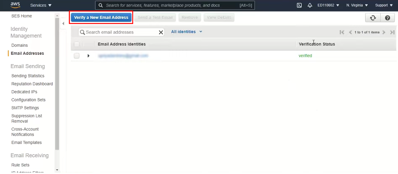 verifying an email address in amazon ses