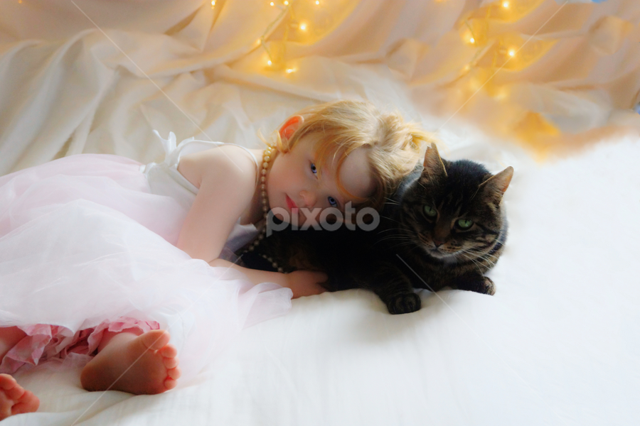 Nevaeh & Fenny by Cheryl Korotky - Babies & Children Child Portraits ( babies, a heartbeat in time photography, children, people, children with pets, love, pretty dresses, princess, life, family, pets, innocence, forever home, children with cats, , #GARYFONGPETS, #SHOWUSYOURPETS )