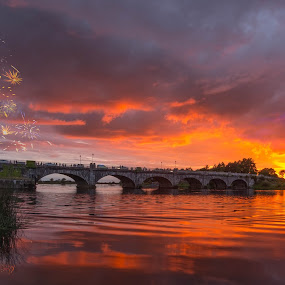 That beats Banagher by F Kelly - Landscapes Waterscapes ( ireland, sunset, boats, fireworks, offaly, bridge, river shannon, banagher,  )