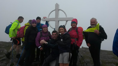 Photo: Group on Galtymore during the Crossing. The highest point on the walk at 919 metres.