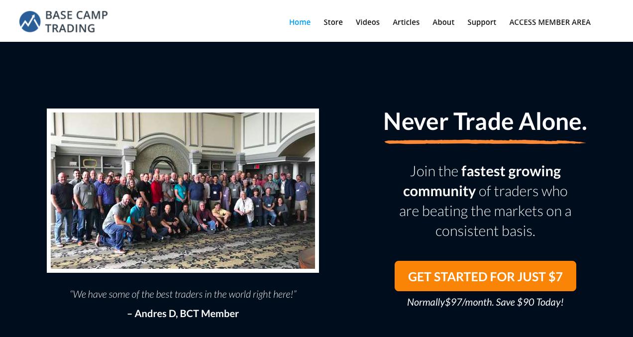 Base Camp Trading website homepage