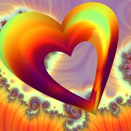 Heart by Cassy 67 - Illustration Abstract & Patterns ( love, valentine's day, hearts, valentines, swirl, digital art, spiral, day, fractal, light, digital, fractals, energy )