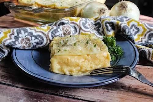 """Pierogi Casserole""""It really tastes like a pierogi. The layers of pasta and..."""