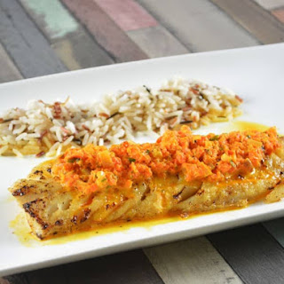 Haddock With Red Pepper Sauce.