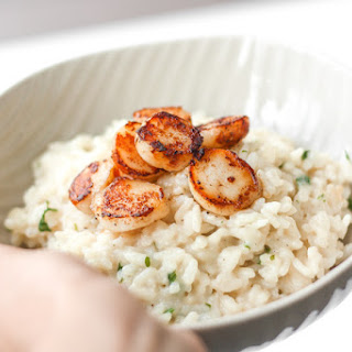 Creamy Parmesan (No Wine) Risotto with Seared Scallops