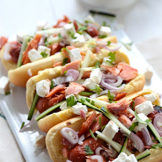 Smoked Salmon Hot Dog.