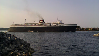 Photo: The SS Badger heading out of Ludington to Wisconsin. It is a vehicle and passenger ferry boat.
