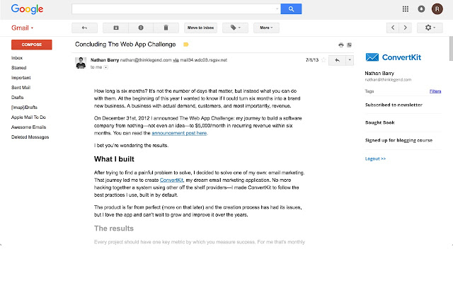 ConvertKit Gmail Extension