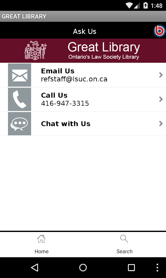 Ontario's Law Society Library- screenshot