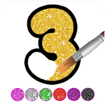 Glitter Number and letters coloring Book for kids 3.3