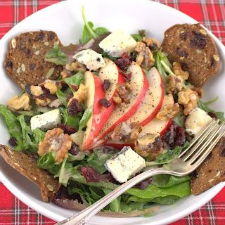 Salad with Cranberry, Pear, Walnuts & Gorgonzola.