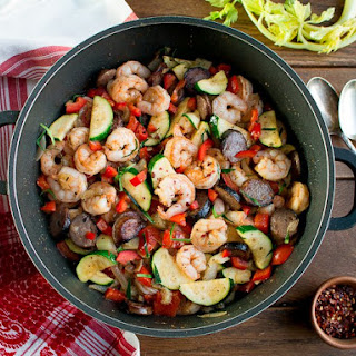 Low Carb Shrimp and Sausage Skillet.