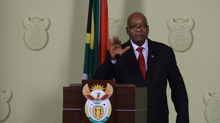 Former President Jacob Zuma during his resignation broadcast. Picture: ABIGAIL JAVIER