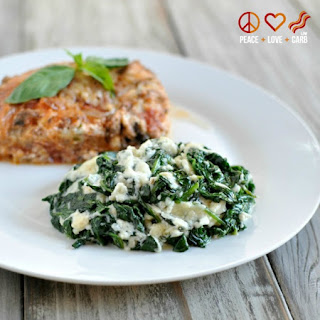Cheesy Garlic Creamed Spinach – From The Primal Low Carb Kitchen Cookbook.