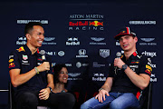 Red Bull Racing's Alexander Albon of Thailand and Max Verstappen of Netherlands during previews ahead of the F1 Grand Prix of Japan at Red Bull Headquarters on October 9 2019 in Tokyo, Japan.