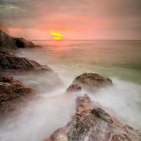 The Aggresor by Najmi Rooslan - Landscapes Sunsets & Sunrises ( gnd, lee, uwa, wave, terengganu, malaysia, seascape, kemasek, sunrise, nikon, tokina, filter )