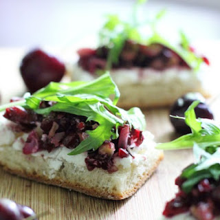 Bruschetta with Goat Cheese and Cherry-Walnut Relish