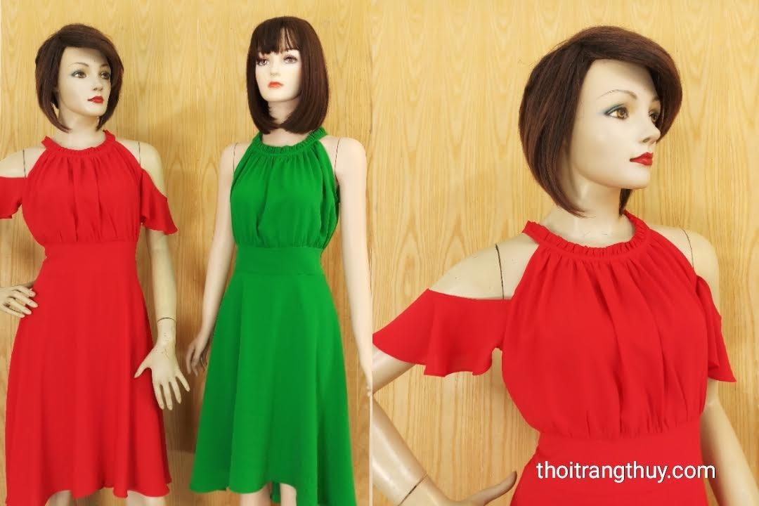 Váy xòe trễ vai nhún eo nữ tính V601 Thời Trang thủy