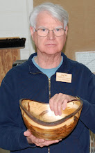 Photo: Gary and his natural ambrosia maple natural edge bowl.