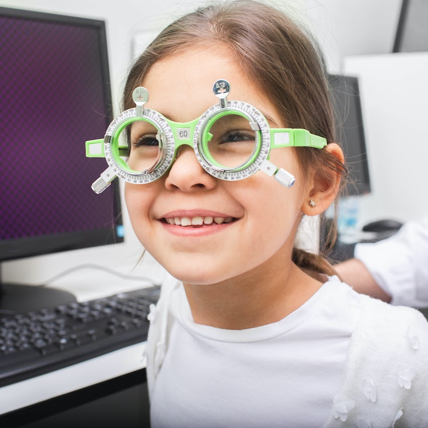 Child trying on special glasses