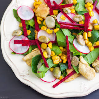Chicken Salad with Lima Beans, Beets & Spinach.