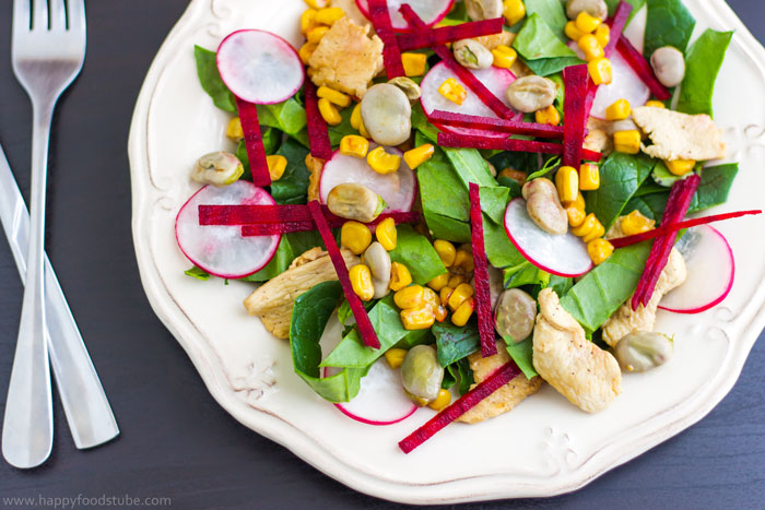 Chicken Salad with Lima Beans, Beets & Spinach Recipe