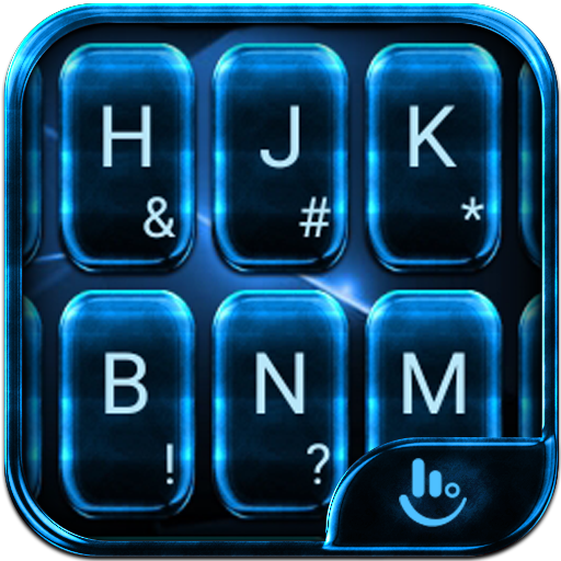 Neon Blue Cool Keyboard Theme