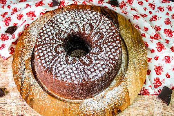 The Ultimate Chocolate Pound Cake Ready To Be Sliced.