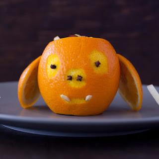 Carved Orange Warthog with Toddler Fruit Salad