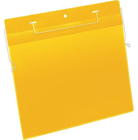 Plastficka A4L trådbygel gul