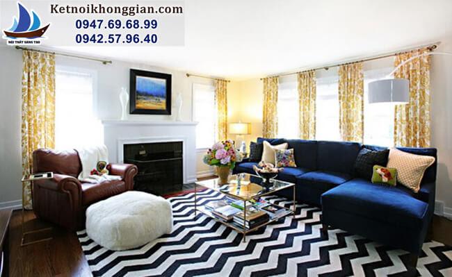 thiết kế phòng khách với rèm họa tiết sang trọng