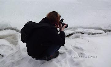 Photo: Rhonda photographing the crack.