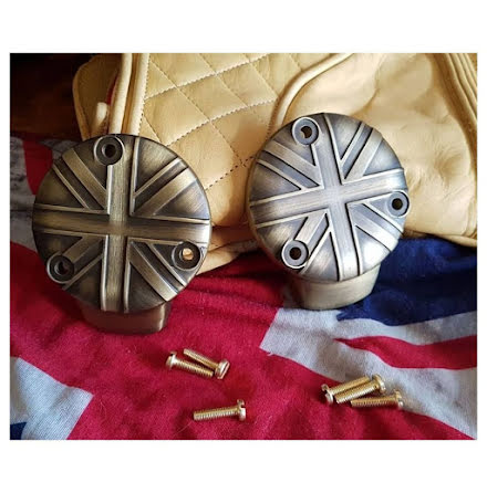TPS Carb/Throttle Body Cover - Pair - Union Jack - Brass Coat
