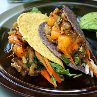 Eggplant and Mushroom Tacos with Crunchy Cole Slaw.