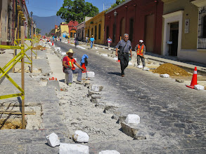 Photo: The north section of Garcia Vigil is under construction, all by hand because of the flagstone construction.