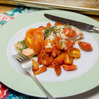 Herbed Salmon En Papillote With Grape Tomatoes.