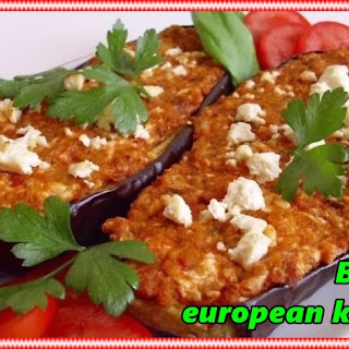 Stuffed Eggplants With Cheese And Tomatoes.