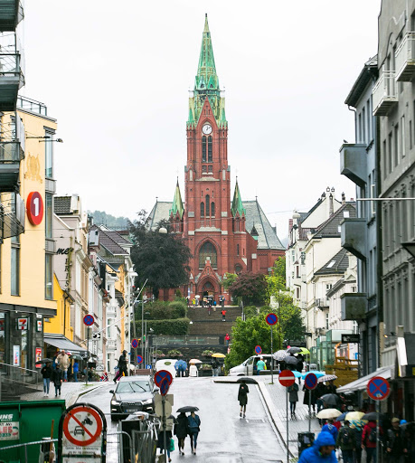 Bergen-Cathedral.jpg -  The neo-Gothic cathedral in downtown Bergen, Norway.