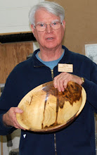 Photo: Gary Nickerson shows the wonderful color of his ambrosia maple bowl.