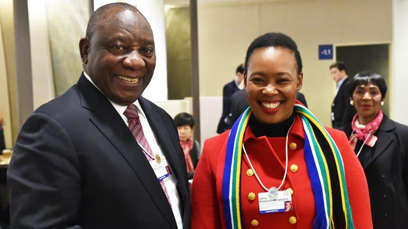President Cyril Ramaphosa and communications minister Stella Ndabeni-Abrahams pictured at the World Economic Forum last month. (Photo source: Twitter)