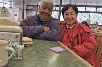 Photo: Carol and Ely using our last cafe vouchers before bus and  train home, #3822