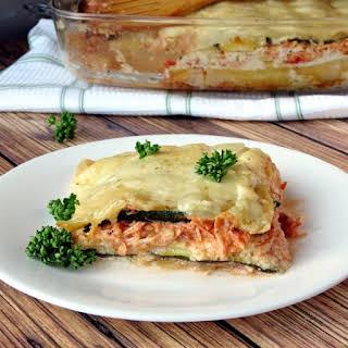 Zucchini and Chicken Alfredo Lasagna.
