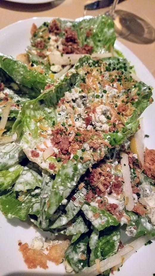 A Nice Dinner at Ringside Fish House with a Sweet Gems salad of Petals of Sweet Gem Lettuce, Asian Pear, Crispy Leeks, Lardons, Blue Cheese Vinaigrette, Fried Bread