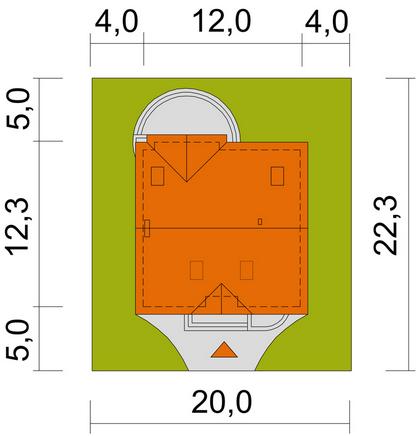 Groszek dach dwuspadowy - Sytuacja