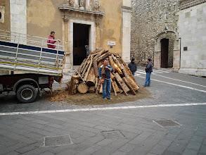 Photo: Preparing the Christmas fire