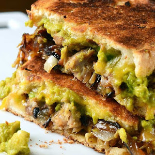 Pulled Pork and Sriracha Guacamole Grilled Cheese.