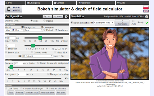 Bokeh simulator/DOF calculator- screenshot thumbnail