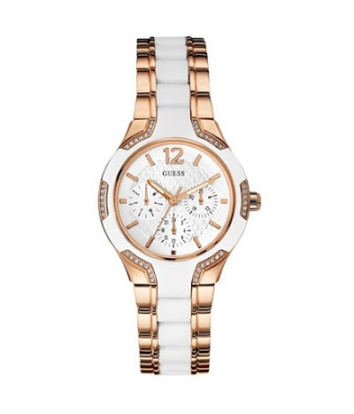 Ceasuri Femei GUESS Rose Gold-Tone and White Watch no color