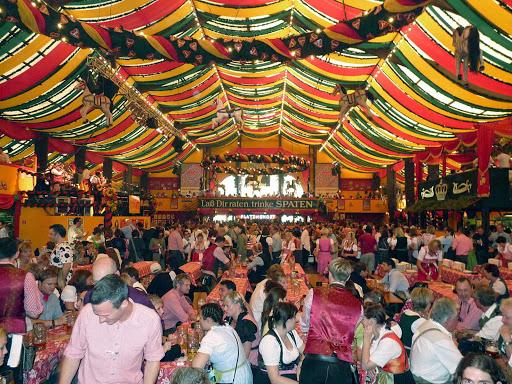A colorful scene from Oktoberfest in Munich, Germany.